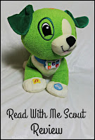 Read with Me Scout dog toy and title text.