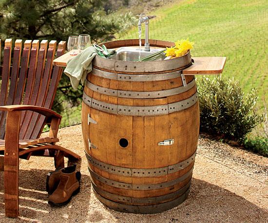 To da loos: Wine barrel sink vanities: Turning wine into water