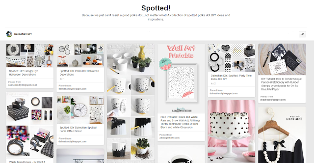 "Dalmatian DIY ""Spotted!"" polka dot Pinterest board screenshot"