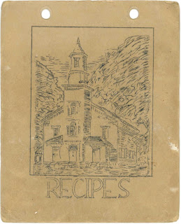 "A paper booklet cover with the title ""Recipes"" and sketch of a church."