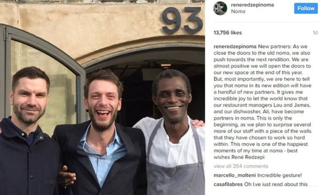 Noma dishwasher becomes part-owner of 'world's best restaurant'