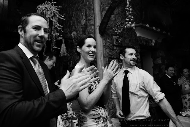 Wedding guests applaud