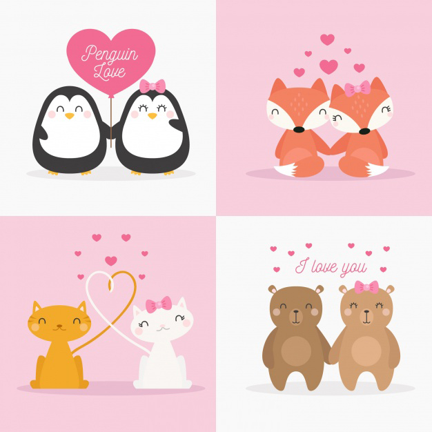 Cute valentines day animal couple collection Free Vector