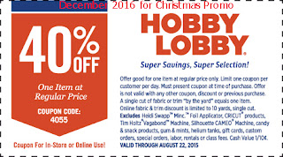 free Hobby Lobby coupons for december 2016