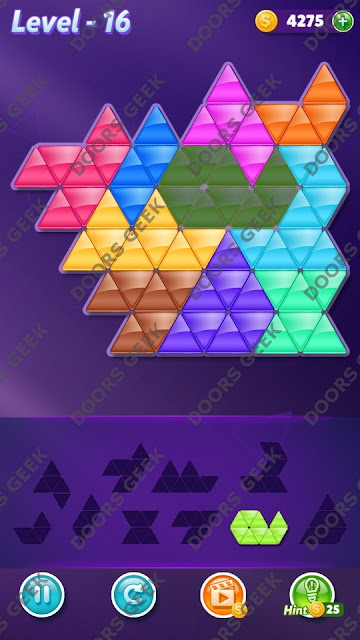 Block! Triangle Puzzle 10 Mania Level 16 Solution, Cheats, Walkthrough for Android, iPhone, iPad and iPod