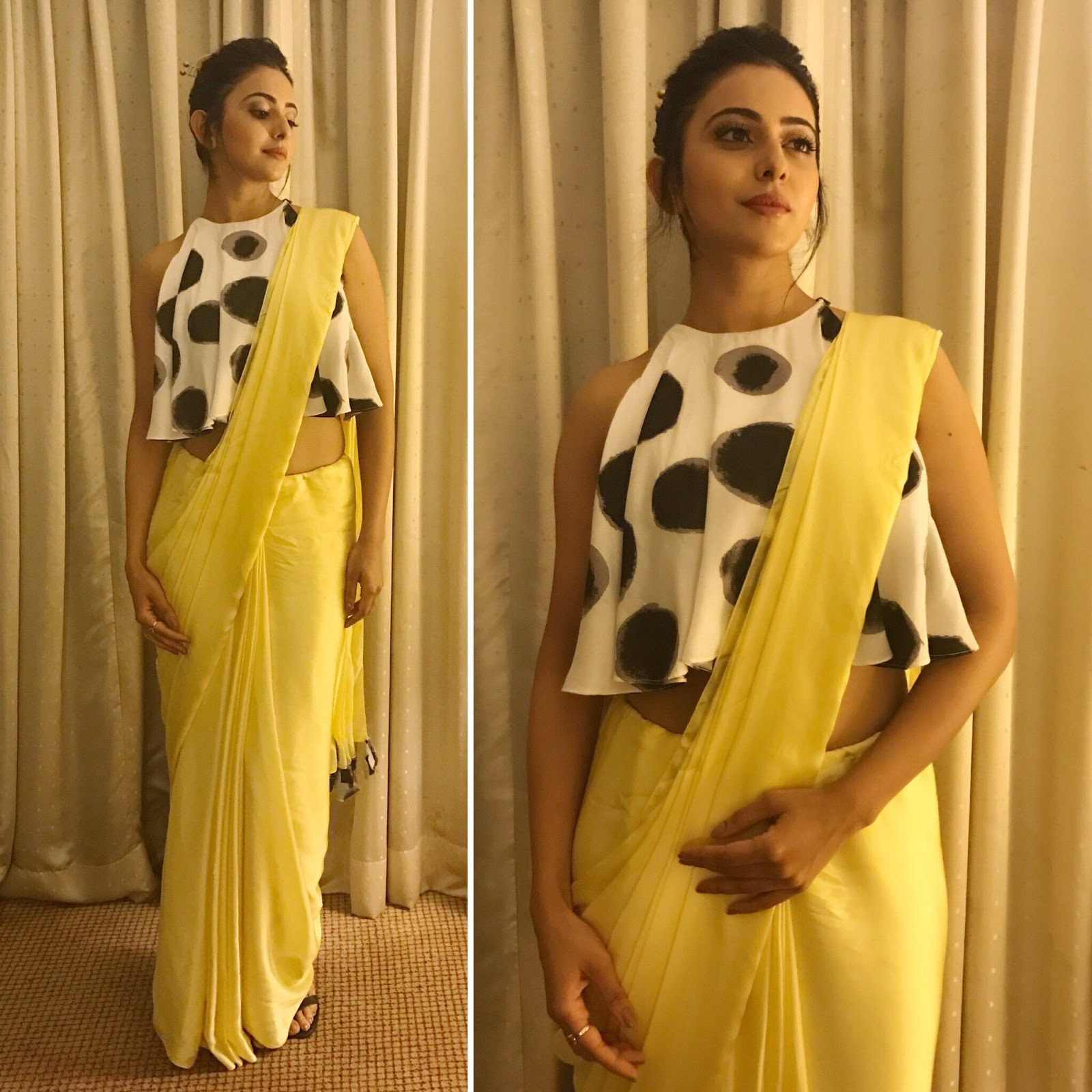 dd92e28e87ebe7 If you are aiming for a fusion saree look opt for a western style printed blouse  design and pair up with a plain saree. This polka dotted flared blouse with  ...