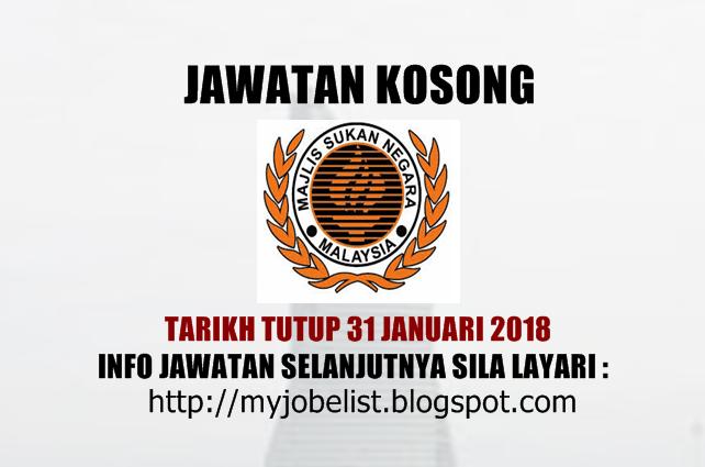 Jawatan Kosong di Majlis Sukan Negara Malaysia Januari 2018