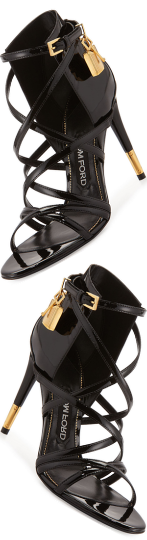 TOM FORD Strappy Patent Padlock Sandal, Black
