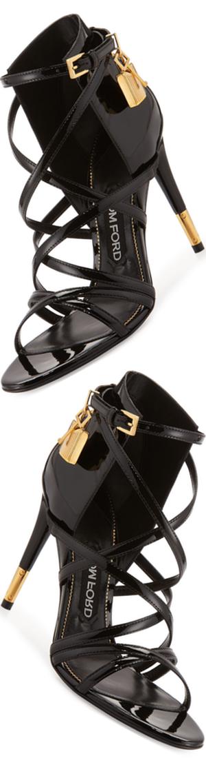 TOM FORD Strappy Patent Padlock Sandal, Black