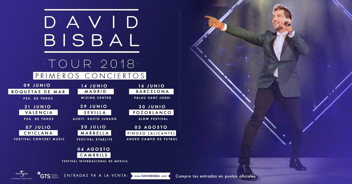 David Bisbal Tour 2018, conciertos, conciertos espana, venta entradas