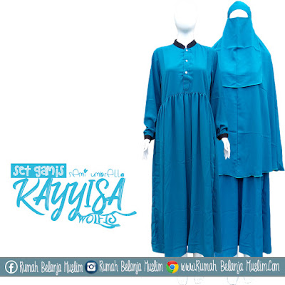 Set Gamis Muslimah Syari Kayyisa Semi Umbrella Biru Tosca