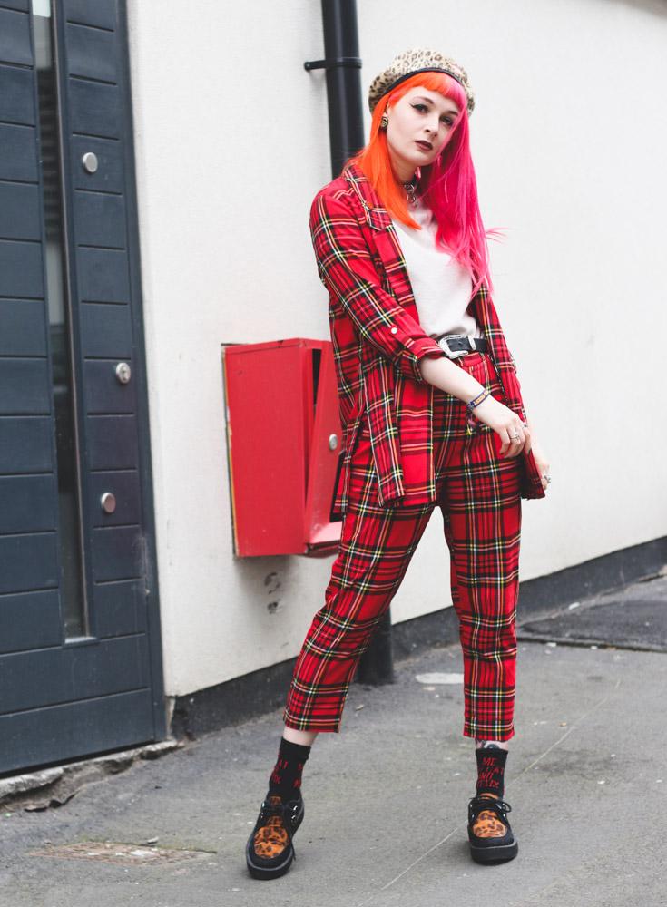 Alternative fashion blogger foxxtailz Styles Stradivarius tartan suit