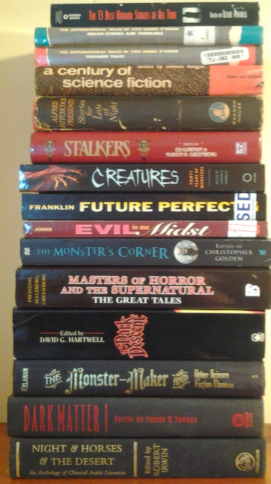 Stack 1 of anthologies to read this year.