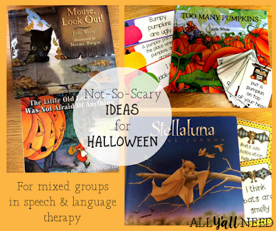 Not-so-scary Halloween activities for mixed speech and language therapy groups in elementary school