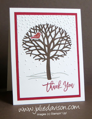 Stampin' Up! Thoughtful Branches Winter Thank You Card -- Limited Edition Bundle available in August 2016 ONLY www.juliedavison.com/shop #thoughtfulbranches #stampinup