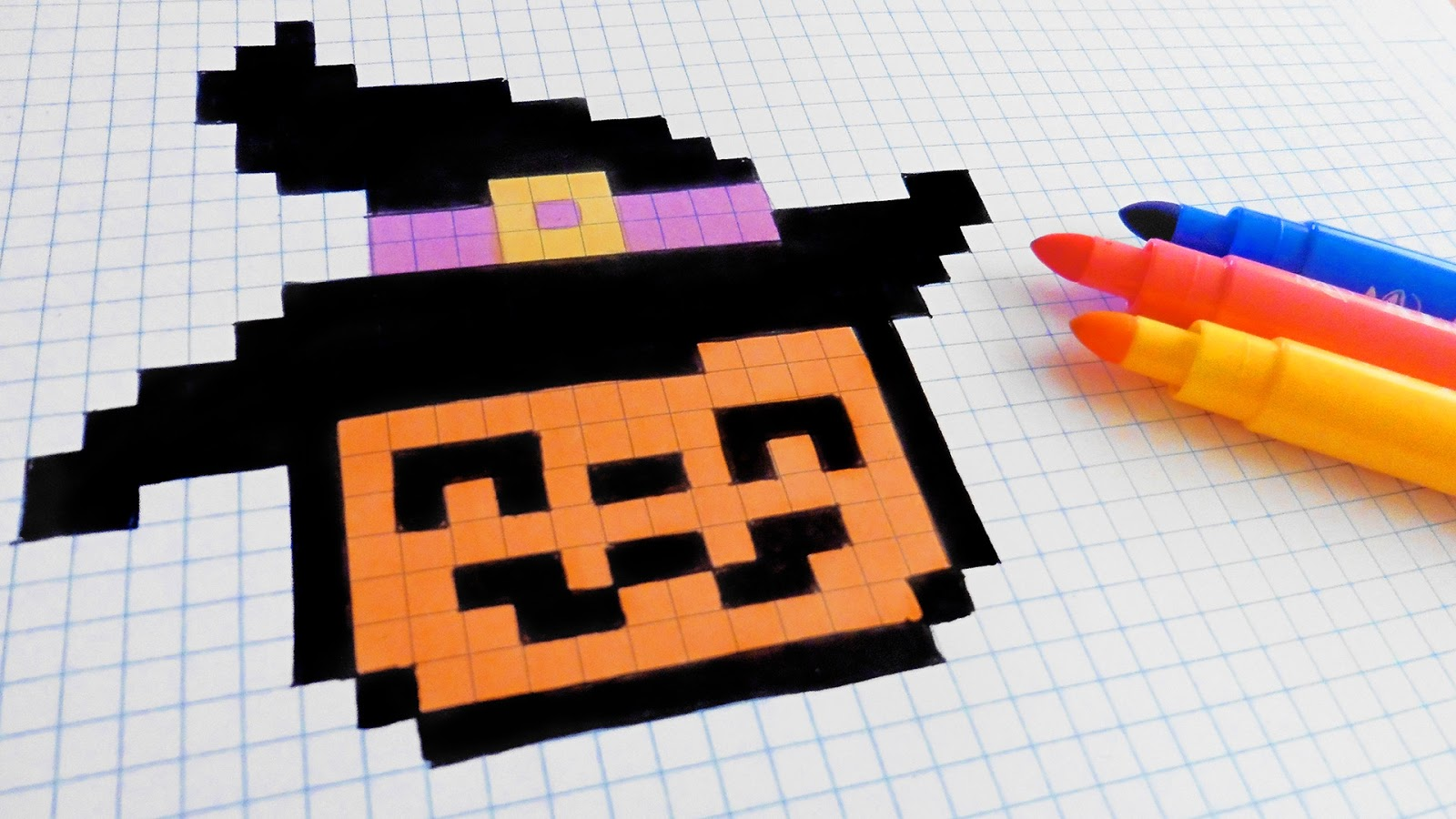 Halloween pixel art how to draw a pumpkinhead pixelart - Comment dessiner un monstre qui fait peur ...