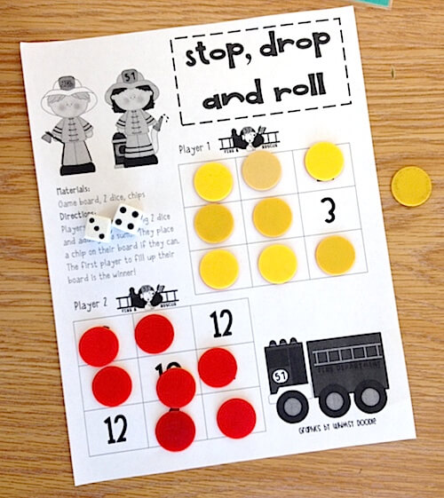Stop, drop and roll math game. Fire Safety activities for first grade. GradeONEderful.com