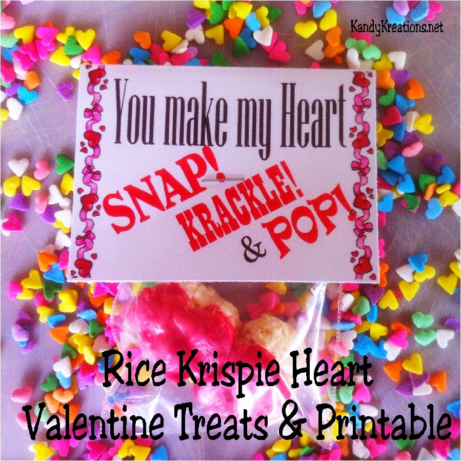 Here's a free printable and fun treat for a class Valentine or sweet treat for your kids this Valentine's day. Using Rice Krispie treats, Wilton Red Chocolate Melts, and our free Valentine printable, you have a sweet Valentine that's quick, easy, and delicious!