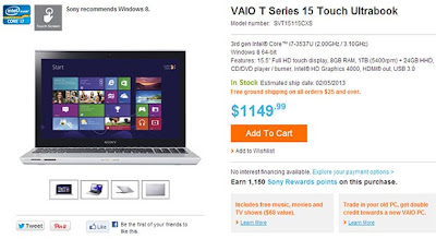Sony Vaio T14 Dan T15, Ultrabook Layar Sentuh OS Windows 8