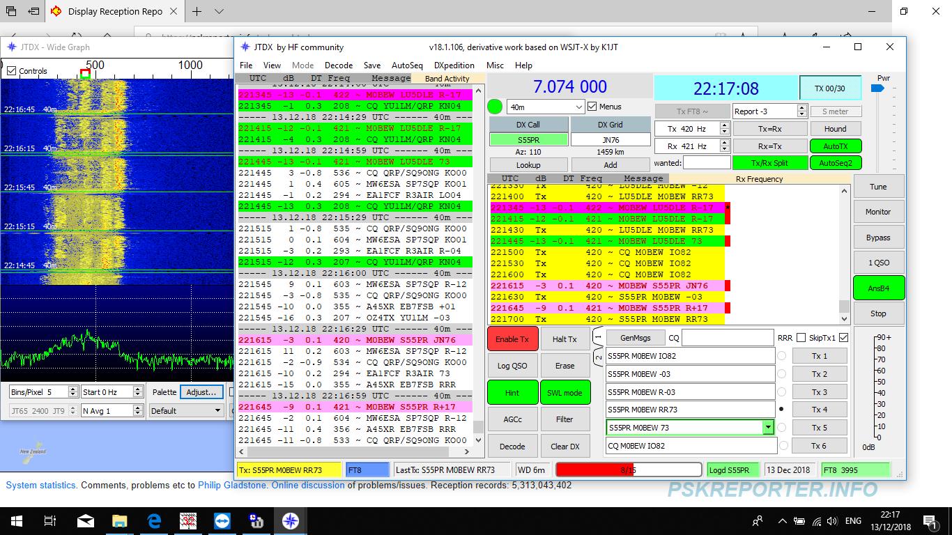 M0BEW -- ----- -       --: 40m FT8 from M0BEW 19 12 18
