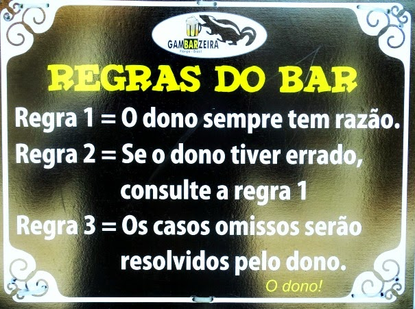 Regras do Bar Gambarzeira, em Santo Antônio de Lisboa, Florianópolis