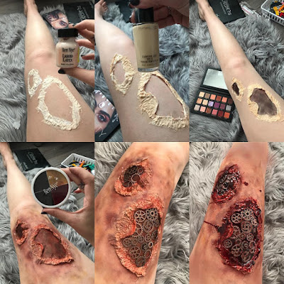 how to glue gears on body steampunk makeup steampunk bodypainting steampunk gore bloody wound gears