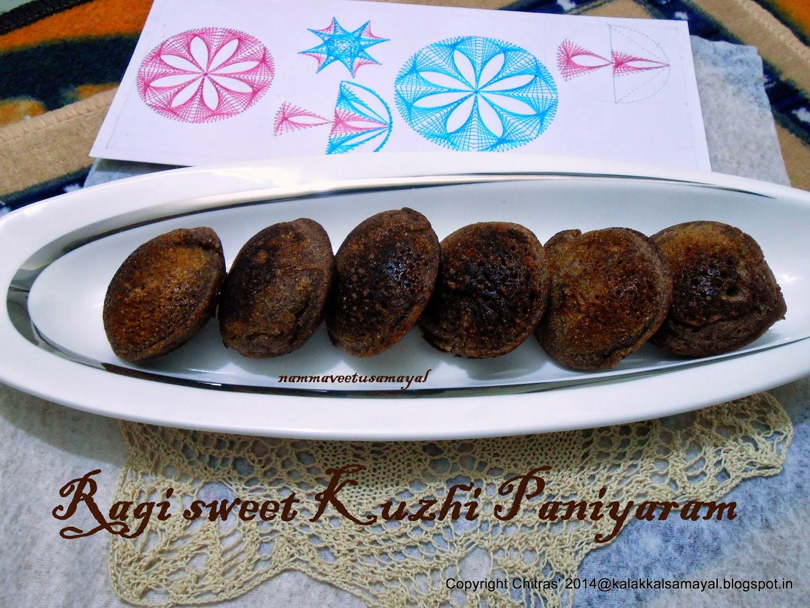Kezhvaragu Inippu Kuzhi Paniyaram [ Ragi Sweet Paniyaram ]