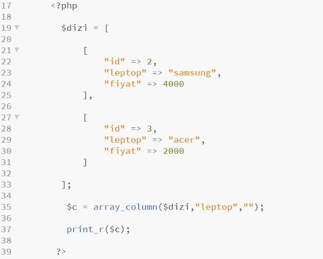 php array_column fonksiyonu
