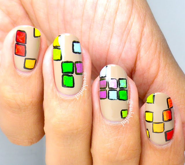 Rainbow Tetris Nails