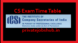 CS Exam Time Table