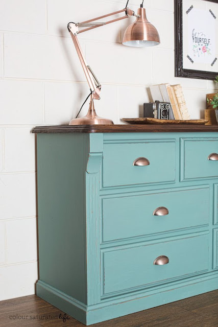 Antique Copper Cup Pull - Dresser Makeover