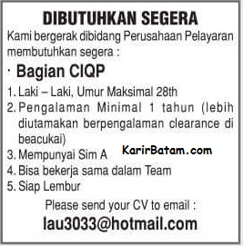 Lowongan Kerja CIQP Batam Indonesia
