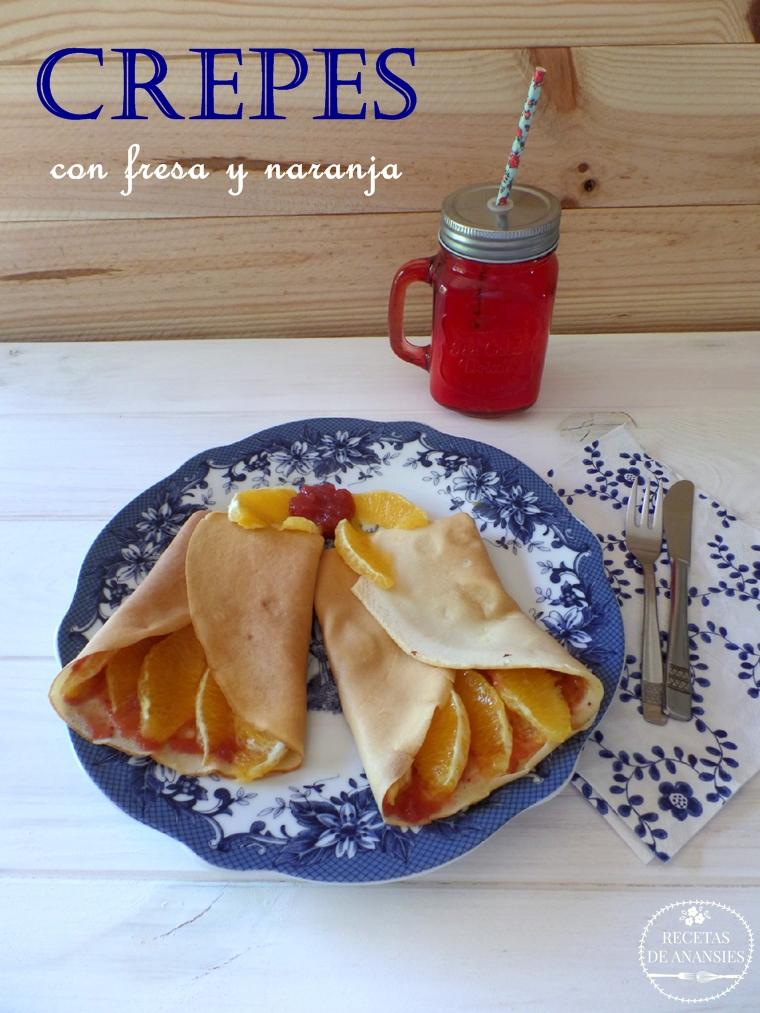 Crepes sin azúcar con mermelada de fresa y naranja.