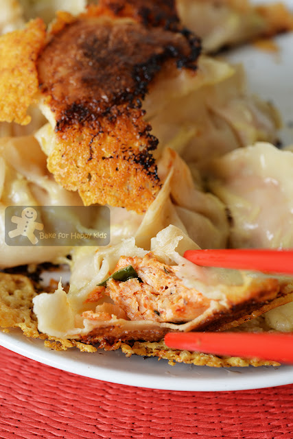 kimchi chicken gyoza with crispy cheese base