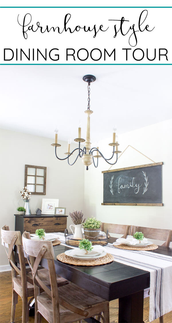 Dining room tour. See an update of our modern farmhouse style dining room. High contrast wood and black decor with touches of cottage charm.