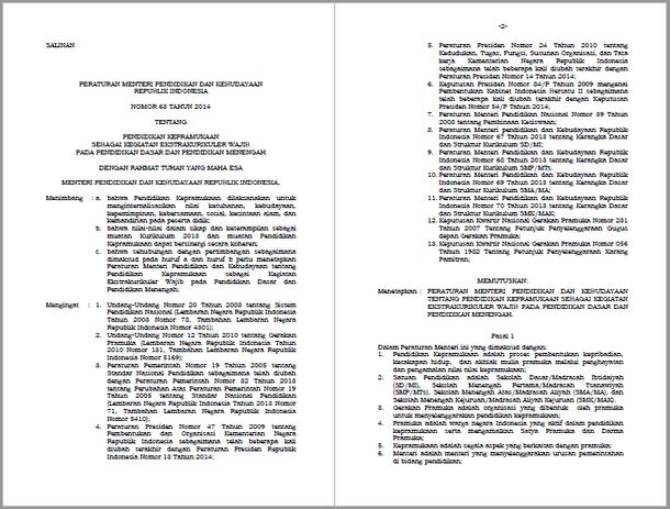 Permendikbud Nomor 63 Tahun 2014 tentang Pendidikan Kepramukaan sebagai Kegiatan Ekstrakurikuler Wajib pada Pendidikan Dasar dan Pendidikan Menengah