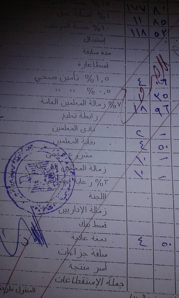 بالمستندات النقابه تخصم كل شهر 45 جنيه من معلم مرتبه 1247 527_n