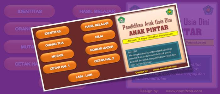 Download Gratis Aplikasi Buku Induk Siswa PAUD TK RA Format Excel