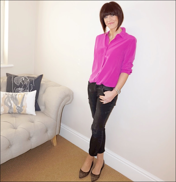 My Midlife Fashion, marks and spencer pure silk longline long sleeve shirt, zara distressed cigarette jeans, boden studded flats