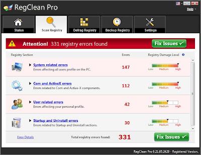 برنامج RegClean Pro لاصلاح اخطاء الريجستري وتسريع الجهاز