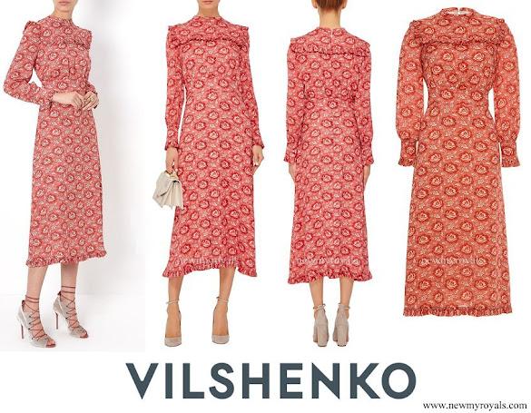 Crown Princess Mette-Marit wore Vilshenko Miranda Georgette Frill Front Midi Dress