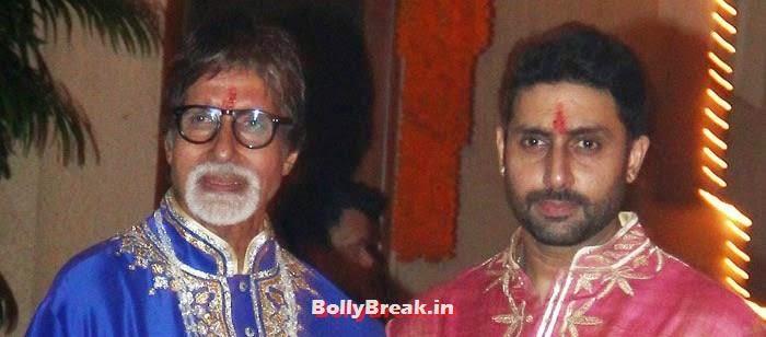 Amitabh Bachchan, Abhishek Bachchan, Photos from Amitabh Bachchan's Diwali Bash 2014