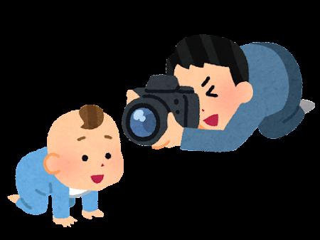 子供の写真を撮る父親のイラスト