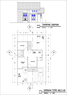 Gambar tampak dan denah desain rumah tipe 46