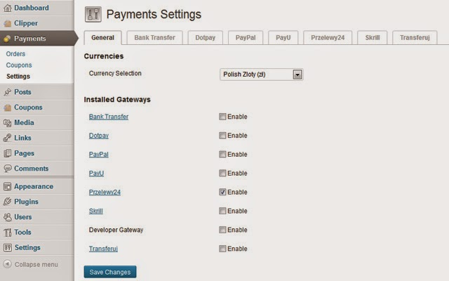 Przelewy24 Payment Settings Screen