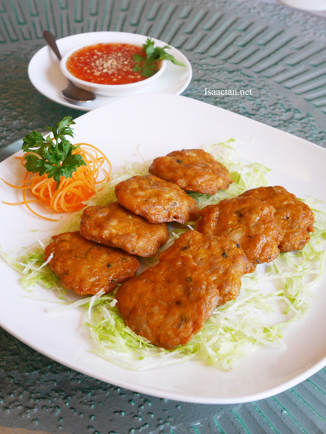 Pan Fried Chicken Cake served with Thai Chili Sauce