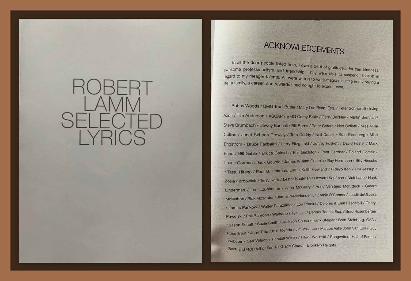 Robert Lamm Selected Lyrics - Click Photo To Purchase!