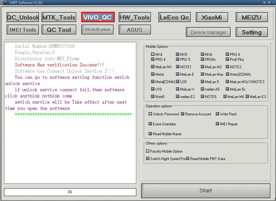 Remove Pattern Lock & FRP Vivo V7 With MRT Dongle