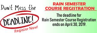 Al-Hikmah University Course Registration Deadline for Rain (2nd) Semester
