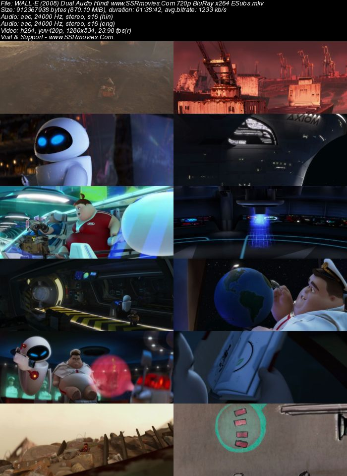 WALL·E (2008) Dual Audio Hindi 720p BluRay x264 850MB ESubs Movie Download